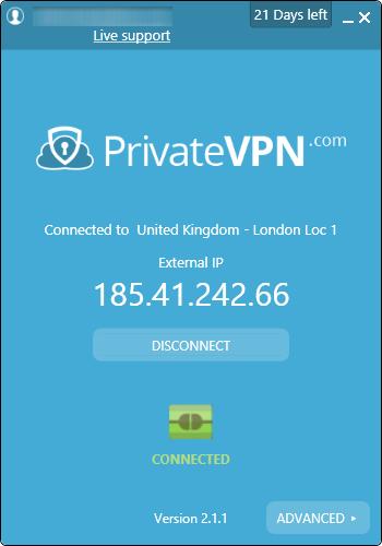 privatevpn arayüzü