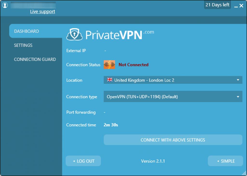 privatevpn gelişmiş arayüz