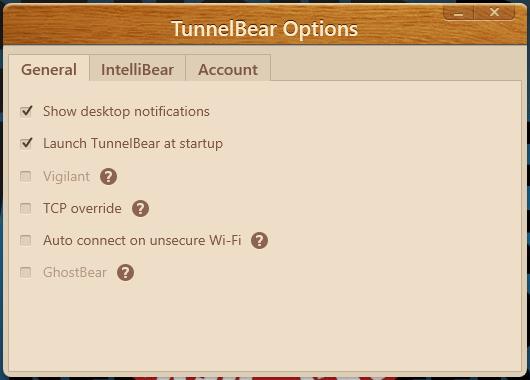 TunnelBear Ayarları