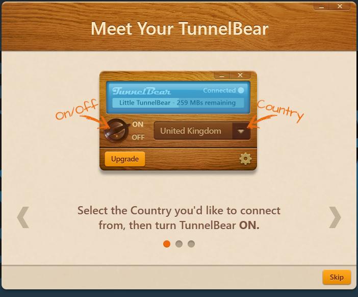 TunnelBear VPN Arayüzü